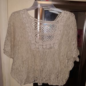 Cream Lacey crop top
